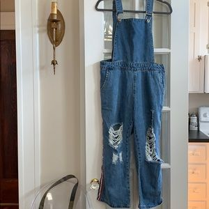 Boohoo Blue High-Waisted Distressed Overalls
